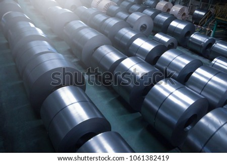 Cold rolled steel coil at storage area in steel industry plant. #1061382419