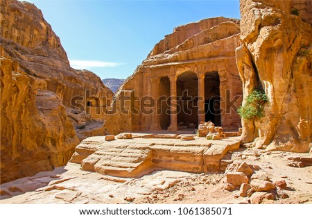 Ancient city of Petra in Jordan. Temple in Petra, Jordan #1061385071