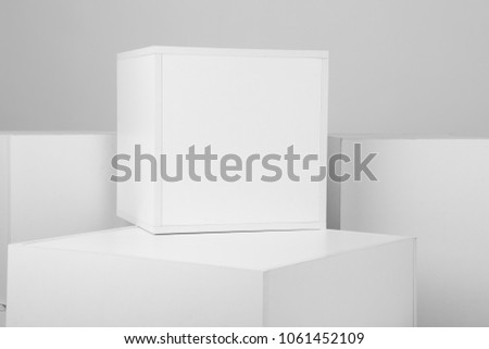 Geometric background with white cubes