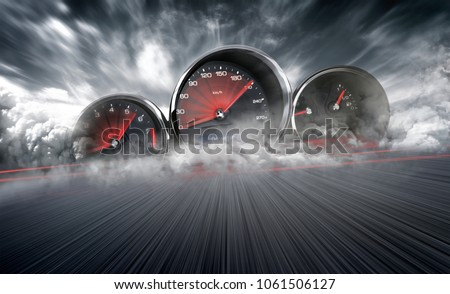 Speedometer scoring high speed in a fast motion blur racetrack background. Speeding Car Background Photo Concept. #1061506127