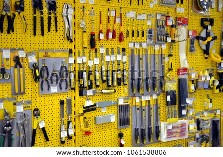 Sochi, Russia - March 30, 2018: Retail shop showroom of screwdrivers, pliers and other tool sets in store Podkova by maksim zinchenko #1061538806