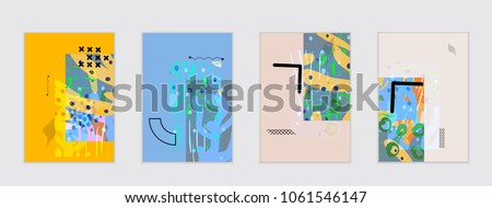 Set of artistic abstract universal card templates with simple geometric shapes and hand drawn doodle texture. Social media web banner. Bright colored isolated on white background cover template. #1061546147