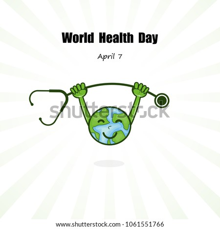 Globe sign and stethoscope vector logo design template.World Health Day icon.World Health Day cartoon mascot character.World Health Day idea campaign concept for greeting card and poster.Vector