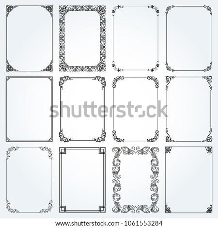 Decorative frames and borders standard rectangle proportions backgrounds vintage design elements set  #1061553284