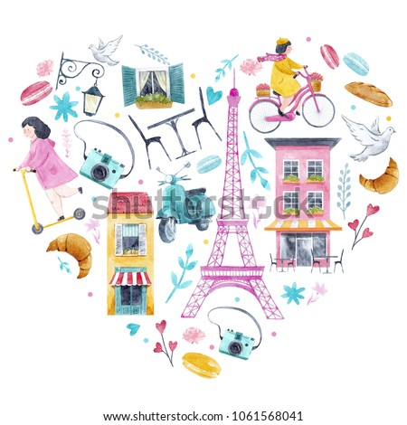 Watercolor cute illustration of a heart, Fashionable pink print, girl on a bicycle, cute home cafe, girl on scooter, camera, travel and love. eiffel tower, I love Paris