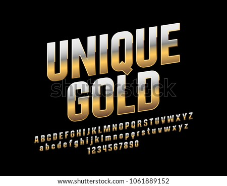 Vector mat text Unique Gold. Metallic gradient Font. Rotated exclusive Alphabet Letters, Numbers and Symbols #1061889152