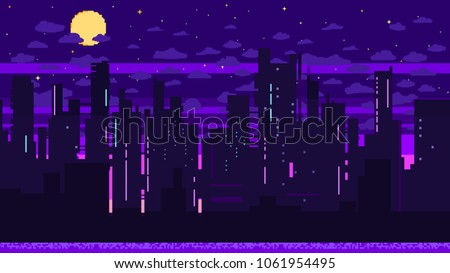 Pixel art game background with road, ground, sunset, landscape, sky, clouds, silhouette city, stars and moon. Background with gradient.