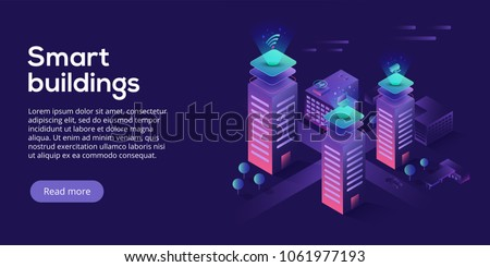 Smart city or intelligent building isometric vector concept. Building automation with computer networking illustration. Management system or BAS thematical background. IoT platform future technology. Royalty-Free Stock Photo #1061977193