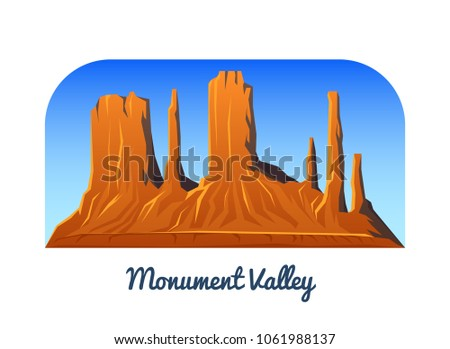 Monument Valley. Mountains and Peaks and landscape early in a daylight. travel or camping, climbing. Outdoor hill tops. View from Hunts Mesa, Arizona. #1061988137