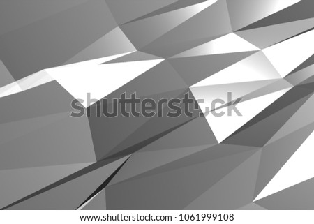 Abstract grey polygonal surface. Low poly white triangular texture. Mosaic structure. 3D rendering illustration. #1061999108