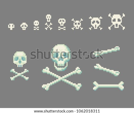Set of pixel art skull with crossbones signs. Vector illustration