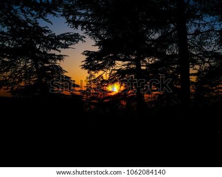 sunset in hills, Himachal pradesh #1062084140