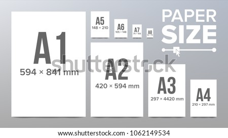 Paper Sizes Vector. A1, A2, A3, A4, A5, A6, A7, A8 Paper Sheet Formats. Isolated Illustration