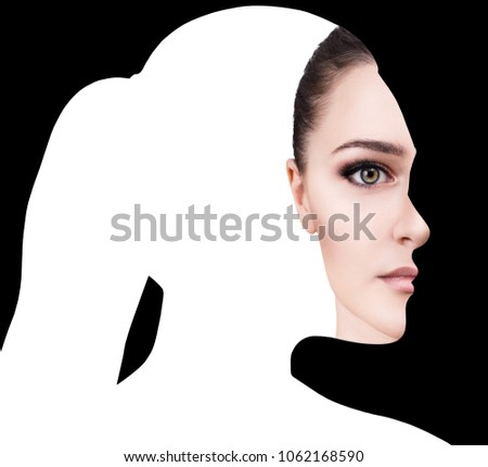 Surrealistic portrait front with cut out profile of woman.