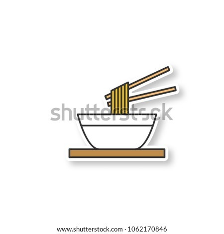 Chinese noodles with chopsticks patch. Ramen. Spaghetti in bowl. Color sticker. Vector isolated illustration