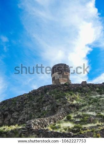 Tombs of sillustani near puno sillustani titicaca lake puno peru south america #1062227753