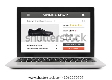 Online shop concept on laptop computer screen. Isolated on white background. All screen content is designed by me. #1062270707