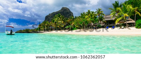 Relaxing tropical holidays - gorgeous Mauritius island. le Morne #1062362057