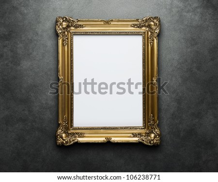 Ornate golden frame at the concrete wall with clipping path for the inside #106238771