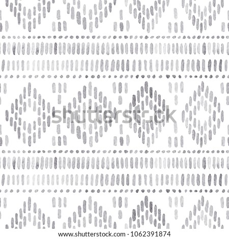 Seamless watercolor pattern. Gray geometric elements on a white background. Handmade. Ethnic geometric ornament, tribal style, aztec wallpaper, bohemian native print. Uneven edges. Vector illustration