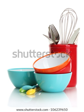 bright empty bowls, cups and kitchen utensils isolated on white #106239650