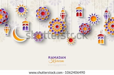 Ramadan Kareem concept horizontal banner with islamic geometric patterns. Paper cut flowers, traditional lanterns, moon and stars. Vector illustration. #1062406490