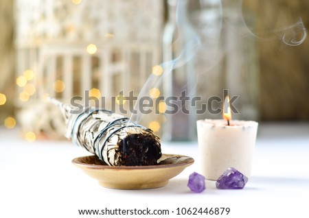 sage candle with amethyst and twinkle lights #1062446879