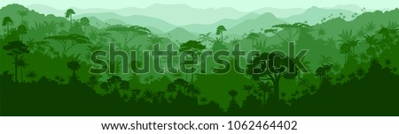 Vector horizontal seamless tropical rainforest Jungle background Royalty-Free Stock Photo #1062464402