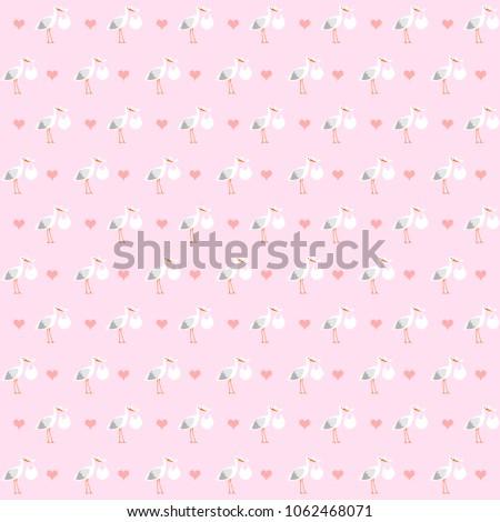Storks seamless pattern, background illustration, newborn baby background #1062468071