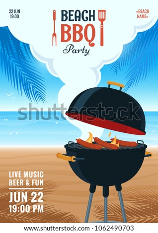 Beach barbecue party invitation. Summer BBQ party flyer. Grill illustration on the background of the beach. Design for flyer, menu, poster, announcement. Vector eps 10. #1062490703