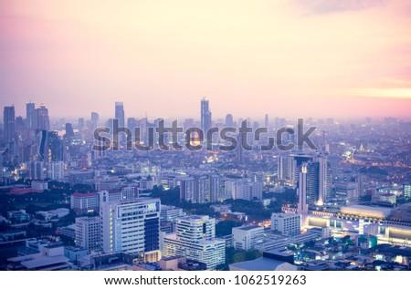 View of Bangkok City at sunset #1062519263