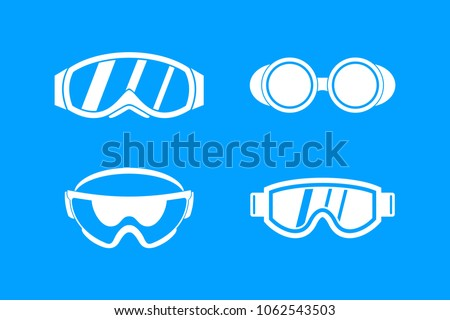 Protect glasses icon set. Simple set of protect glasses vector icons for web design isolated on blue background
