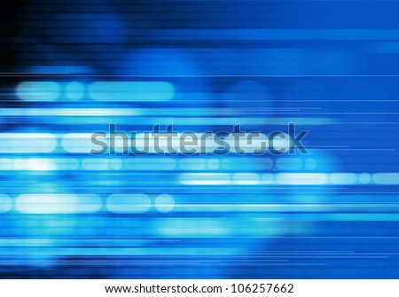 digitally generated image of blue light and stripes moving fast over black background #106257662