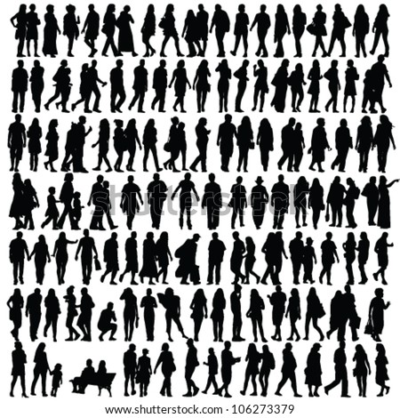 people silhouette black vector girl and man walking illustration Royalty-Free Stock Photo #106273379