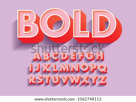 bold 3d/ 3 dimension typography design vector
