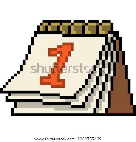 vector pixel art calendar isolated cartoon