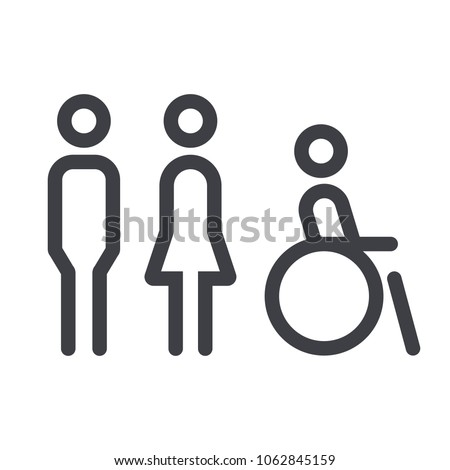 Gender icon. Man and Woman icon isolated minimal design. Toilet line icon, outline vector sign, linear style pictogram isolated on white. WC symbol, vector logo illustration. #1062845159