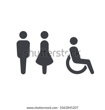 Gender icon. Man and Woman icon isolated minimal design. Toilet line icon, outline vector sign, linear style pictogram isolated on white. WC symbol, vector logo illustration. #1062845207