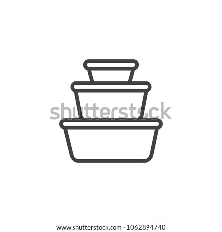 Plastic food containers outline icon. linear style sign for mobile concept and web design. Ð¡ookware pots line vector icon. Symbol, logo illustration. Pixel perfect vector graphics