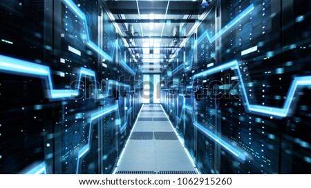 Shot of Corridor in Working Data Center Full of Rack Servers and Supercomputers with High Speed Inernet Visualization Projection. Royalty-Free Stock Photo #1062915260