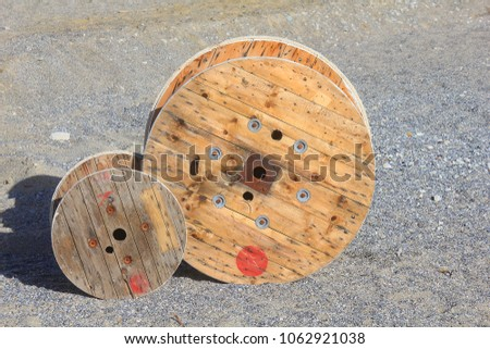 some wooden coils for cables #1062921038