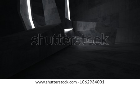 Abstract  concrete parametric interior with neon lighting. 3D illustration and rendering. #1062934001