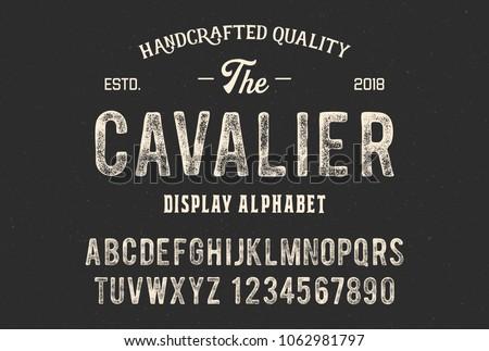 Original display alphabet. Vintage font design. Typeface