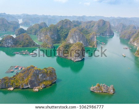 LAN HA Bay Island is the touring floating fishing village the UNESCO World Heritage Site in Vietnam.viewed from above. #1062986777