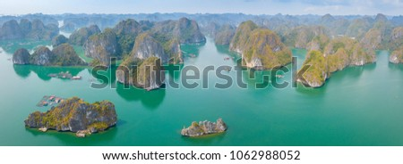 LAN HA Bay Island is a touring floating fishing village of UNESCO World Heritage Site in Vietnam. Panorama viewed from above. #1062988052
