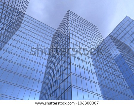 3d illustration of a facade of office to sue reflecting a blue sky #106300007