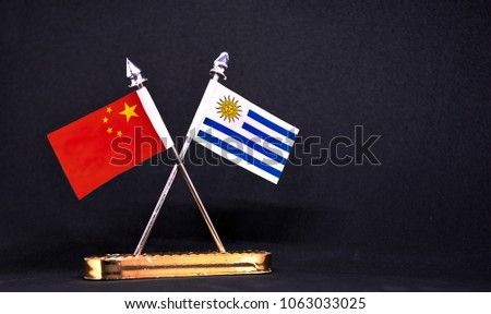 China and Uruguay table flag with black Background #1063033025