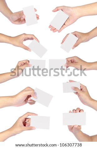 Collection of Beautiful woman hands holding an empty business card over white backgrounds.