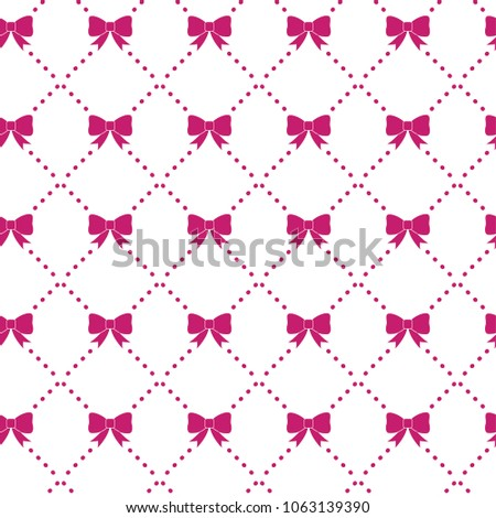 Seamless vector pattern of cute ornament pink bows on rhombus dots. Background texture of gift wrapping paper or greeting cards.