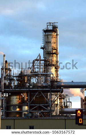 A petrochemical plant at dusk #1063167572